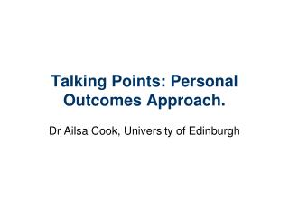 Talking Points: Personal Outcomes Approach.