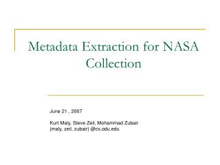 Metadata Extraction for NASA Collection