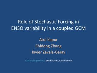 Role of Stochastic Forcing in ENSO variability in a coupled GCM