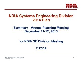 NDIA SE Division  Summary -  2014 Plan
