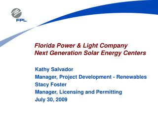 Florida Power & Light Company  Next Generation Solar Energy Centers