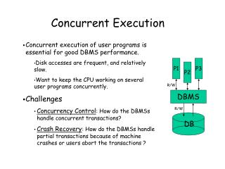 Concurrent execution of user programs is essential for good DBMS performance.