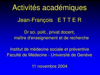 Activités académiques