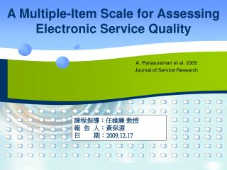 A Multiple-Item Scale for Assessing Electronic Service Quality