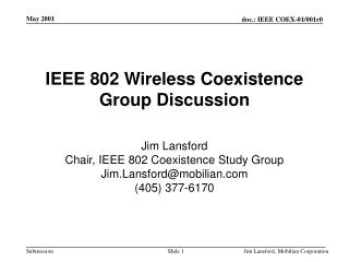 IEEE 802 Wireless Coexistence Group Discussion