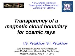 Yu.G. Shafer Institute of Cosmophysical Research and Aeronomy of SB RAS