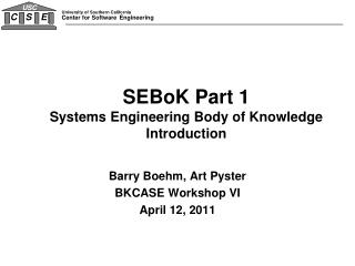 SEBoK Part 1 Systems Engineering Body of Knowledge Introduction