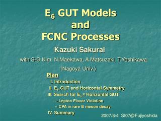 E 6  GUT Models and FCNC Processes