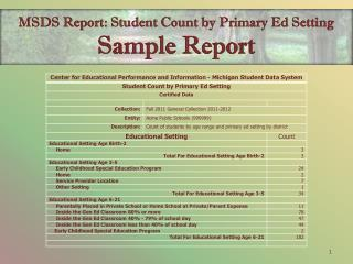 MSDS Report:  Student Count by Primary Ed Setting  Sample Report