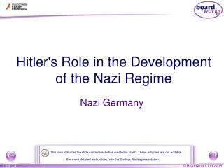 Hitler's Role in the Development of the Nazi Regime