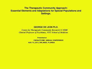 GEORGE DE LEON Ph.D.