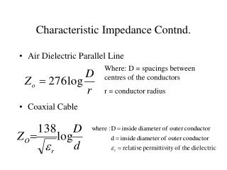 Characteristic Impedance Contnd.