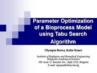 Parameter Optimization of a Bioprocess Model using Tabu Search Algorithm