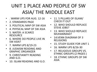 UNIT 1 PLACE AND PEOPLE OF SW ASIA/ THE MIDDLE EAST