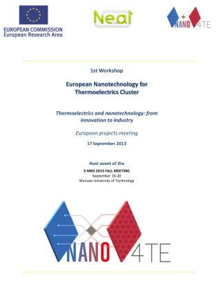 1st Workshop European Nanotechnology for  Thermoelectrics  Cluster