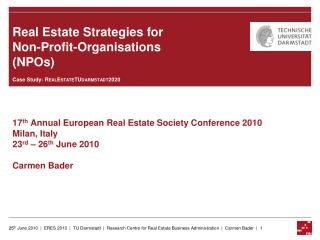 Real Estate Strategies for Non-Profit-Organisations (NPOs)