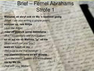 Brief � Fernel Abrahams Strofe 1