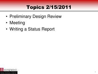 Topics  2/15/2011