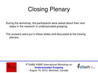Closing Plenary