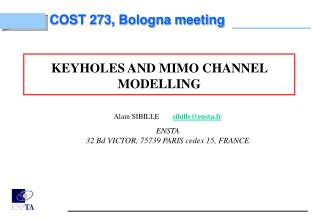 KEYHOLES AND MIMO CHANNEL MODELLING