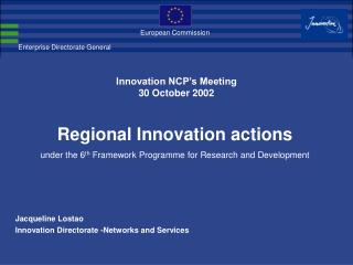 Innovation NCP's Meeting 30 October 2002