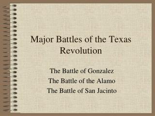 Major Battles of the Texas Revolution