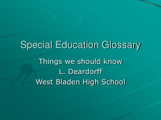 Special Education Glossary