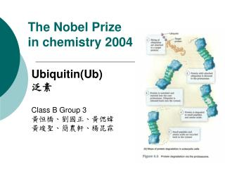 The Nobel Prize  in chemistry 2004