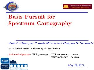Basis Pursuit for  Spectrum Cartography