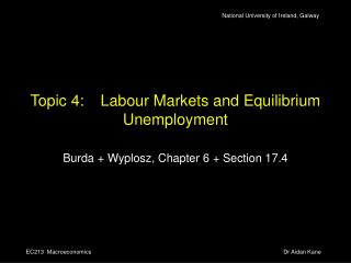 Topic 4:	Labour Markets and Equilibrium Unemployment