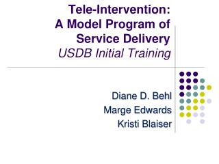 Tele-Intervention:  A Model Program of Service Delivery USDB Initial Training