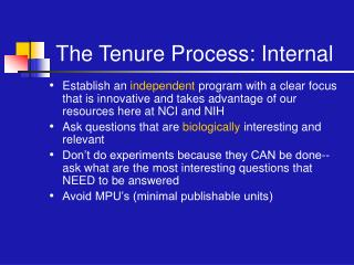 The Tenure Process: Internal
