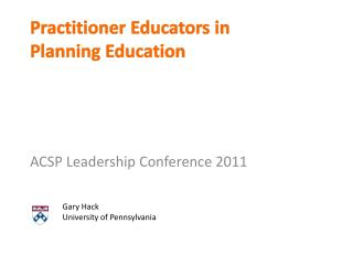 Practitioner Educators in  Planning Education