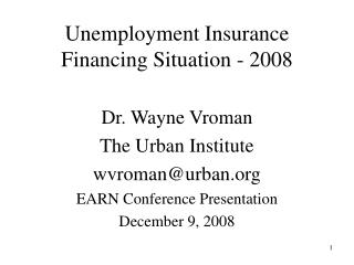 Unemployment Insurance Financing Situation - 2008