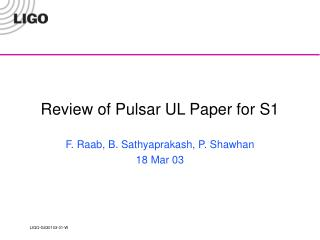Review of Pulsar UL Paper for S1