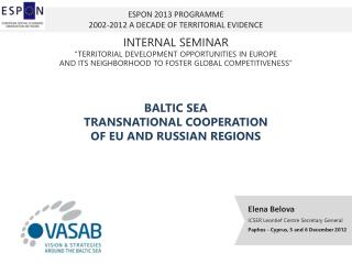 ESPON  2013  PROGRAMME 2002-2012 A DECADE OF TERRITORIAL EVIDENCE