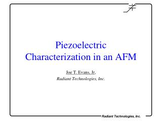 Piezoelectric  Characterization in an AFM