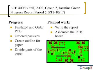 ECE 4006B Fall, 2002, Group 2, Jasmine Green Progress Report Period (10/12-10/17)