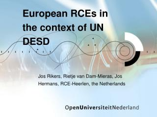 European RCEs in the context of UN DESD