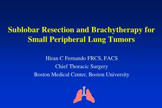 Sublobar  Resection and Brachytherapy for Small Peripheral Lung Tumors
