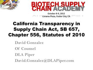 California Transparency in Supply Chain Act, SB 657, Chapter 556, Statutes of 2010