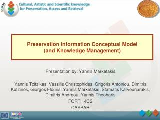 Preservation Information Conceptual Model (and Knowledge Management)