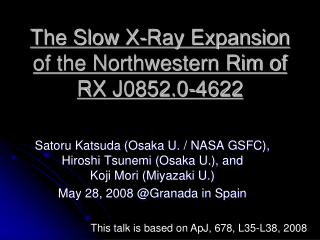 The Slow X-Ray Expansion of the Northwestern Rim of RX J0852.0-4622