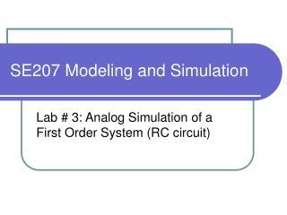 SE207 Modeling and Simulation