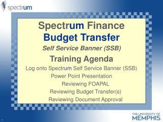 Spectr um  Finance Budget Transfer