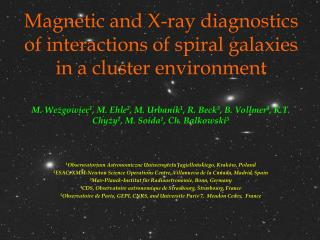 Magnetic and X-ray diagnostics of interactions of spiral galaxies in a cluster environment