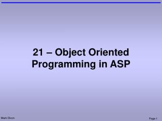 21 – Object Oriented Programming in ASP