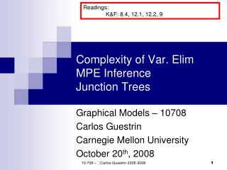 Complexity of Var. Elim MPE Inference Junction Trees
