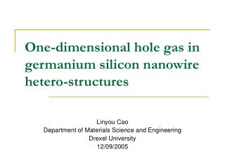 One-dimensional hole gas in germanium silicon nanowire hetero-structures