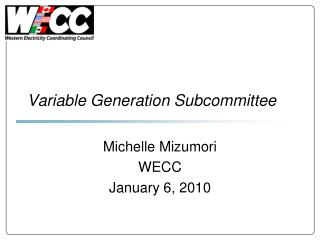 Variable Generation Subcommittee